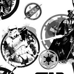 Original Star Wars 3 III Stoff - White Danger Darth Vader, Storm Trooper, Boba Fett