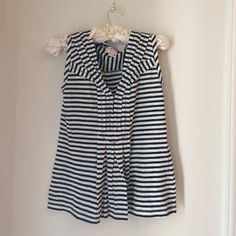 T-shirt from Anthropologie Black/navy white stripe with red and light blue stitching. 58% cotton, 42% polyester. Great condition, never worn. Tops Tees - Short Sleeve