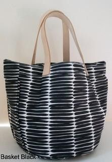 leather handle canvas tote 'basket' print