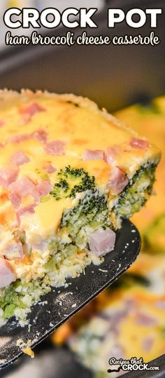 ***Crock Pot Ham Broccoli Cheese Casserole ~ is super simple to toss together and makes a great family breakfast casserole. This egg casserole is a low carb breakfast recipe that carb lovers enjoy too! Ham And Cheese Casserole, Crockpot Breakfast Casserole, Brunch Casserole, Casserole Recipes, Broccoli Casserole, Low Carb Breakfast, Breakfast Recipes, Cooker Recipes, Crockpot Recipes