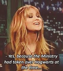 Don't have any clue what this interview could be about, but love her for quoting Harry potter