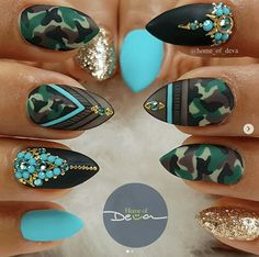If your boyfriend or husband is a soldier, or if you really like army green, these are the perfect attempts to use army green nail designs in another modern style. If you also like army green nail designs, look at today's post, we have collected som Camo Nail Designs, Green Nail Designs, Nail Designs Spring, Nail Art Designs, Army Nails, Camouflage Nails, Nailart, Manicure E Pedicure, Green Nails