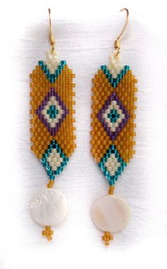 Native American Seed Beaded and Mother of Pearl Earrings