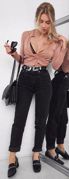 blush wrapped top + black high waist denim
