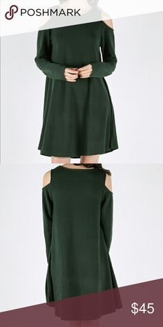 Green cold shoulder dress Lovely swing dress that exposes the shoulders. Loveriche Dresses Mini
