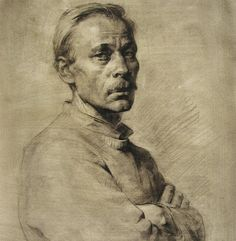 Wonderful portrait on toned paper, Repin Academy of Fine Arts in St. Petersburg, Russia
