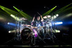 Rizzle Kicks drummer Lew Whittington with his Premier Genista drum set in Purple Sparkle Fade lacquer.