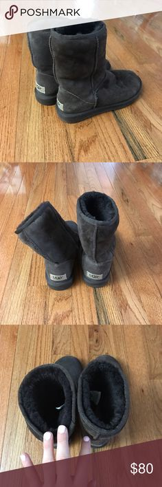 Short UGGS! ❄️❄️ Dark brown size 6 short UGGS!! Great condition!! Bottom looks like they were never worn. Have only been worn a few times. UGG Shoes Winter & Rain Boots