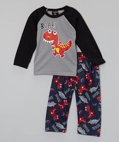 This Gray 'Roar!' Dinosaur Pajama Set - Toddler by Allura Imports is perfect! #zulilyfinds