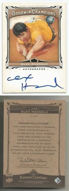 Other Sports Trading Cards 217: 2013 Upper Deck Goodwin Champions Auto Alex Honnold Signed On Card El Capitan -> BUY IT NOW ONLY: $31.95 on eBay!