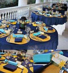blue and yellow wedding ideas | images of blue and yellow wedding table display photography by ...