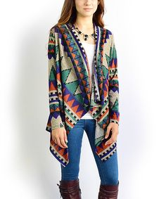 This éloges Purple Geometric Open Cardigan by éloges is perfect! #zulilyfinds