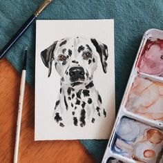 Dalmatian Abstract Watercolor Painting Art Print by Artist DJ Rogers