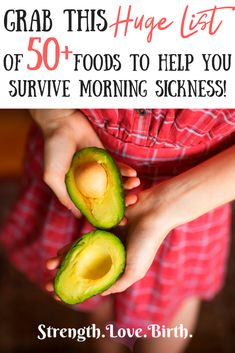 Looking for tips and ideas on things to eat during morning sickness? Nausea during pregnancy can be brutal, but these suggestions of foods to eat should help ease your first trimester (or second! Tons of ideas for snacks, meals, drinks, both healthy and Morning Sickness Food, Nausea During Pregnancy, First Trimester, Foods To Avoid, Pregnant Mom, All Family, First Time Moms, Pregnancy Tips, Pregnancy Nutrition