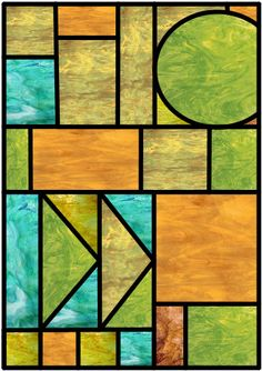Prairie, Mission (Frank Lloyd Wright Style) Stained Glass Window