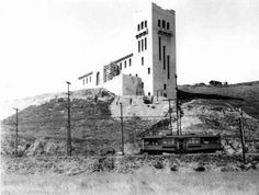 (1914) - View showing the Southwest Museum during the time of its construction.  The Los Angeles Railway (LARy) W Line can be seen in the foreground.