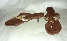 Only beautiful feet need apply: Fabulous Brown Suede Beaded Thong Sandal With Kitten Heels Sz. 8.5M
