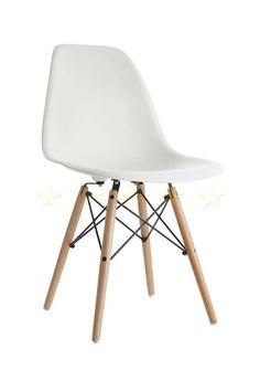 Charles Eames style DSW Eiffel Stuhl Plastik Elfenbein