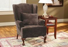Sure Fit Slipcovers Stretch Royal Diamond Wing Chair - Wing Chairs