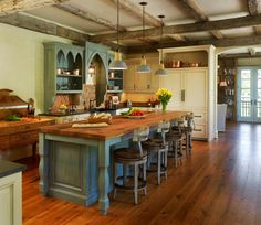 Kitchen. Best Rated Country Kitchen Designs With Islands. Port Country Style Kitchen Design Feature Nice Rustic Wooden Island And Wooden Flooring Plus 3 Hanging Lamps Together With Ancient Wooden Table.white Storages. Country Kitchen Designs With Islands