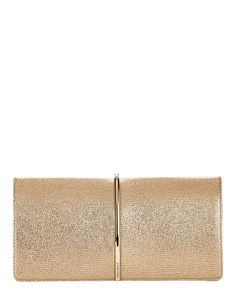Nina Ricci Arc Detail Leather Clutch: Gold: This is our favorite accessory of the season. As it showcases a clean lined gold tone metal arc across the magnetic snap flap front. Measures: 9 3/4 by 4 1/2 with 2 depth. In gold.  Made in ...