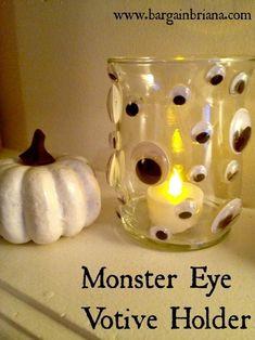 Dollar Store DIY: Creepy Monster Eye Candle Holder via BargainBriana.com