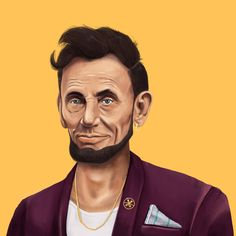 Abraham Lincoln Art Print HIPSTORY – a series of drawings that attempt to create new and altered portrait of iconic figures of the 20th century, by placing them in different time and culture.