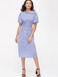 TBDress - TBDress Blue Stripes Ruffle Womens Maxi Dress - AdoreWe.com
