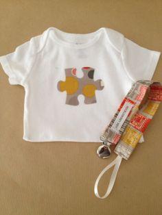 Baby Gift Set  Applique Onsie  Baby Bodysuit  by HuckleberryHen