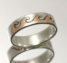 Celtic Wedding Bands silver and gold wedding rings made to order a simple celtic knot inserted into a silver band Irish Wedding Rings, Celtic Wedding Bands, Handmade Wedding Rings, Gold Wedding Rings, Wave Design, Handmade Jewellery, Celtic Knot, Rings For Men, Jewels