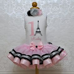 Paris First Birthday Outfit Pink First by FourSweetHeartsTutus