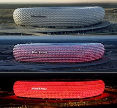 The Allianz Arena is a football stadium in the north of Munich, Germany.
