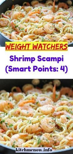 """Shrimp Scampi (Smart Points: MEALS """"No one knows Weight loss meals like we do"""" - With these recipes it's now easier """"and healthy tastier"""" than ever before to stay on track with your HEALTHY goals. Weight Watcher Desserts, Weight Watchers Shrimp, Plats Weight Watchers, Weight Watchers Meal Plans, Weight Watchers Free, Weight Watchers Smart Points, Weight Watchers Recipes With Smartpoints, Weight Watcher Breakfast, Wieght Watchers"""