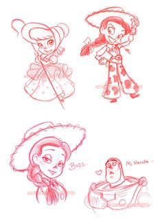 Just some more Toy Story sketches. I like drawing chibi!Bo and Jessie. And the shot of Buzz dumbfounded at Jessie's beauty was probably my favorite scene in the whole movie. XD Prismacolor pencil C. Disney Sketches, Disney Drawings, Cartoon Drawings, Arte Disney, Disney Fan Art, Disney And Dreamworks, Disney Pixar, Jessie And Buzz, Woody