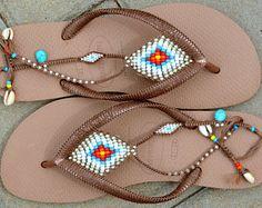 Bohemian Sandals, Boho Shoe, Hippie Sandal, Gladiator Sandal, Rose Gold Havaianas, Women Sandals, Foot Jewelry, Coachella, Beaded Sandals
