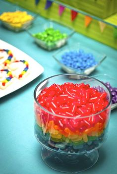 Cute rainbow party! Lots of ideas. Could work as a rainbow-themed sweet shoppe.