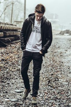 Zayn Malik: The black leather jacket worn in this photo is perfect for Mr. Malik! Zayn loves his jackets so we knew we had to include one in his outfit! This jacket paired with black skinnies and a t-shirt will complete any look!