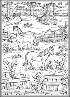 Farm Scene with horses in pasture fence tractor trees plants house -Country Living Coloring Page Farm Coloring Pages, Pattern Coloring Pages, Animal Coloring Pages, Coloring Pages To Print, Printable Coloring Pages, Coloring Sheets, Free Adult Coloring, Coloring Pages For Kids, Creative Haven Coloring Books
