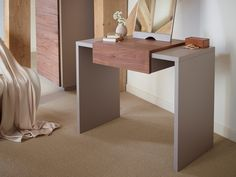 £339 Designer Dressing Table - Marlow STONE with WALNUT accent
