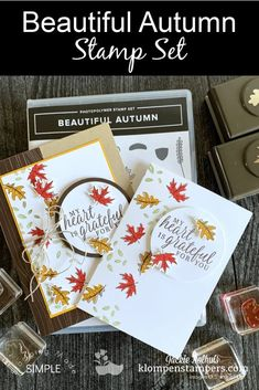 The 'Beautiful Autumn' stamp set by Stampin' Up! Gives you so much flexibility for those DIY Fall cards. Need a Thanksgiving card? A Fall Theme? I've got you covered with 3 card designs that you can easily make in minutes. Learn more at www.klompenstampers.com #beautifulautumncards #fallcards #thanksgivinghandmadecards #handmadecards #diycards #cardmaking #cardmakingideas #jackiebolhuis #klompenstampers