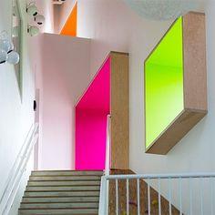 Image result for fluorescent colours interior design