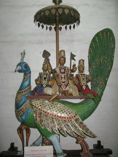 In Hindu culture, peacock is the mount of the lord Karthikeya, the God of war.