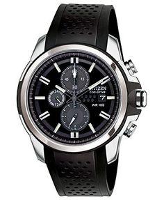 Citizen Watch, Men's Chronograph Drive from Citizen Eco-Drive Black Rubber Strap 45mm CA0420-07E