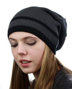 bdc46a5fa7a Trendy Baggy Slouchy   Comfort Knitted Daily Beanie Hat w Stripe - Grey Bk  - CW12HPYE9LV
