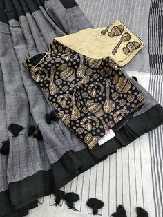Tanvika sarees what's app 9047090885 khadi cotton Blouse Patterns, Saree Blouse Designs, Net Blouses, Black Saree, Casual Saree, Siri, Work Blouse, Neck Pattern, Indian Wear