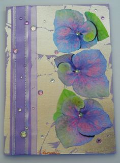 Decoupage Card with Silver Leaf, Hydrangeas, Ribbon and Rhinestones