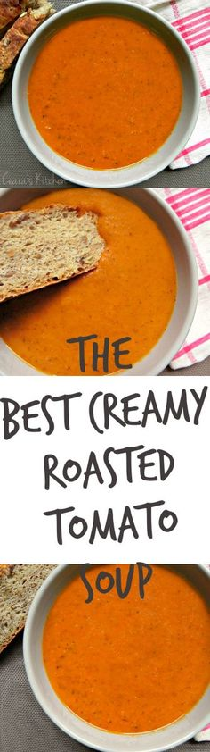 The BEST creamy roasted tomato soup. The tomatoes are roasted to perfection alongside the garlic and onions for good measure. Healthy, gluten-free and vegan! Whole Food Recipes, Cooking Recipes, Healthy Recipes, Healthy Soups, Best Vegan Recipes, Quick Recipes, Roasted Tomato Soup, Roasted Tomatoes, Roasted Red Pepper Soup