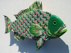 Metal Bottle Cap Fish Wall Art Small Bud Heineken por EricsEasel