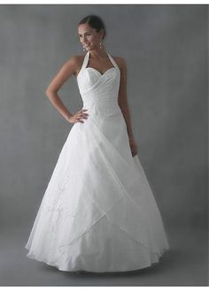LACE BRIDESMAID PARTY BALL EVENING GOWN IVORY WHITE FORMAL ORGANZA HALTER A-LINE WEDDING DRESS