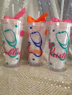 Nurse tumblers by SweetKelsiesCreation on Etsy Vinyl Tumblers, Glitter Tumblers, Custom Tumblers, Nurse Gifts, Nurses Week Gifts, Nurse Appreciation Gifts, Vinyl Monogram, Silhouette Cameo Projects, Cricut Creations
